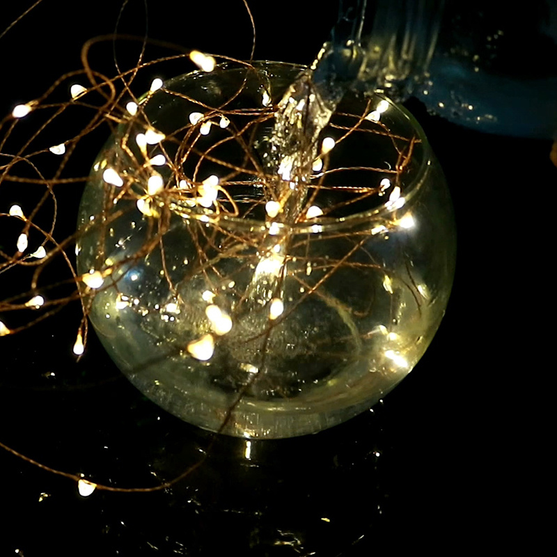 Low Voltage 12V Pin Plug Operated Warm White Copper Silver LED Micro LED String Lights pictures & photos