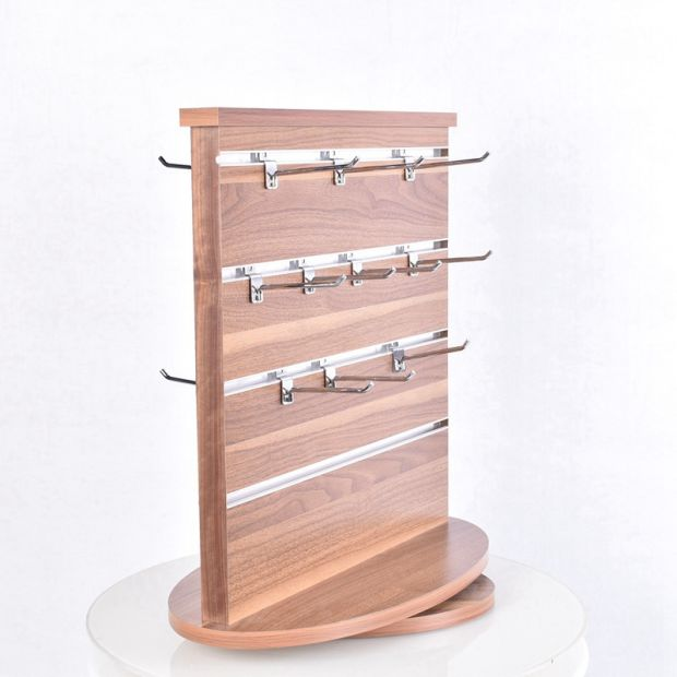 Countertop Rotatable Wooden Mobile Phone Shell Display Rack Accessories Display with Removable Hooks pictures & photos