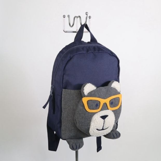 Boys Bear Head Navy Blue Polyester Backpack pictures & photos