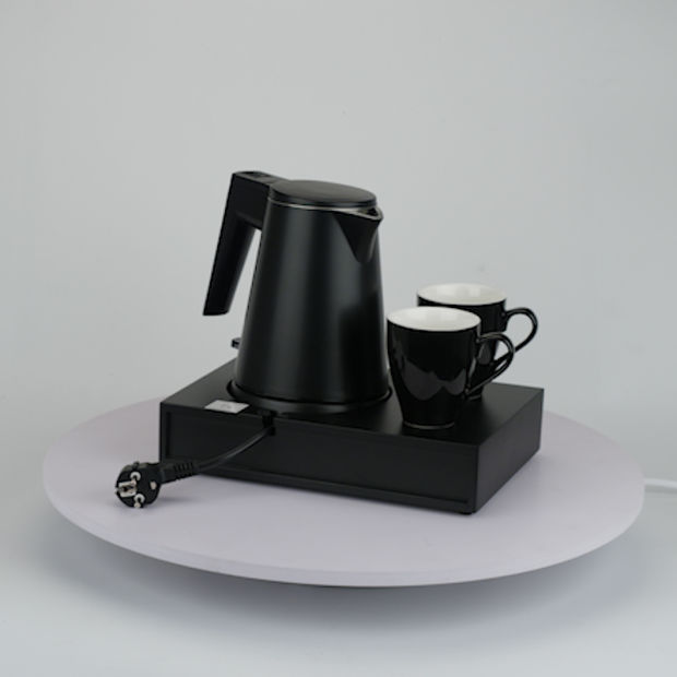 Hotel Black Plastic Electric Kettle with Tray Set pictures & photos