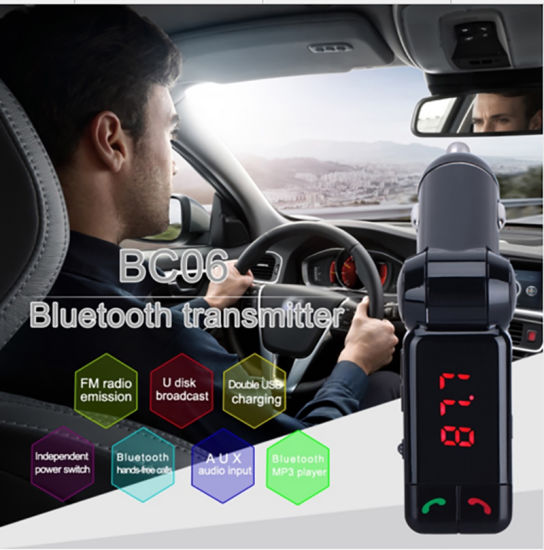 Bc06 Wireless MP3 Player Car Adapter Audio Bluetooth Car Kit FM Transmitter with 2 USB Port pictures & photos