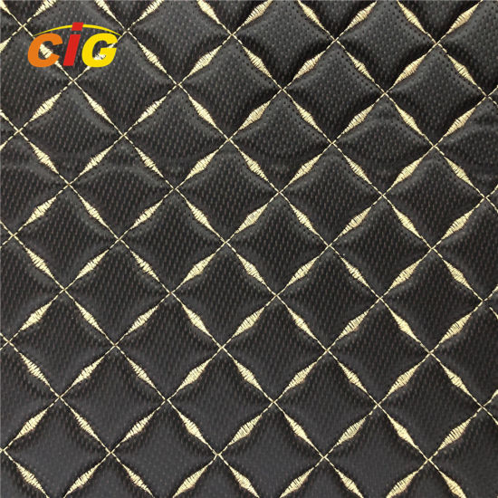 Top Quality Embroidery PVC Artificial Leather with High Density Foam  for Car Seat for Car Floor pictures & photos