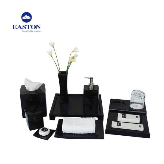 Black Finish Shiny Resin Amenities Holder Set pictures & photos