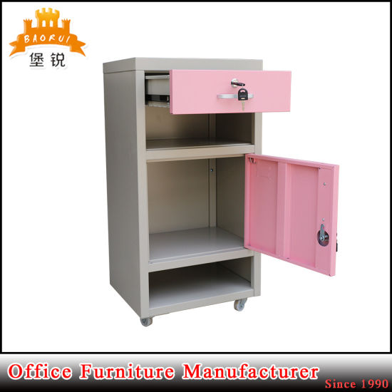 Colorful Bedroom Hospital Mobile Metal Nightstand Cabinet Bedside Table pictures & photos