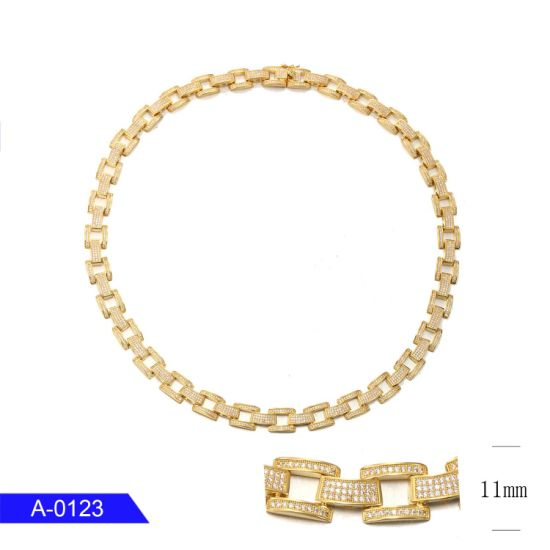 Wholesale Fashion Hip Hop Jewelry 925 Sterling Silver 18K Gold Plated CZ Long Chain for Men pictures & photos