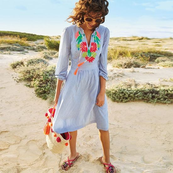 Marla Embroidered Striped Beach Dress pictures & photos