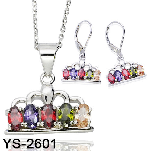 925 Sterling Silver Multicolor Cubic Zirconia Crown Jewelry Set Wholesale pictures & photos