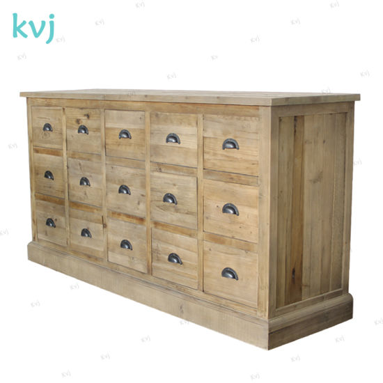 Kvj-7316 Vintage Wood Reclaimed Fir Cabinet with 15 Drawers pictures & photos