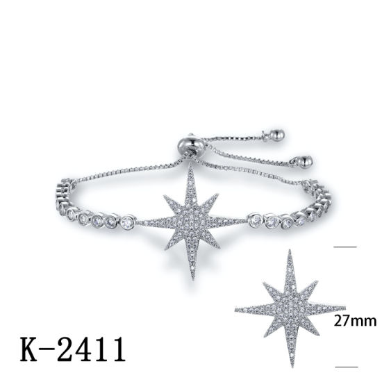 Fashion Jewelry 925 Sterling Silver Pave Diamond Star Bracelet for Sale pictures & photos