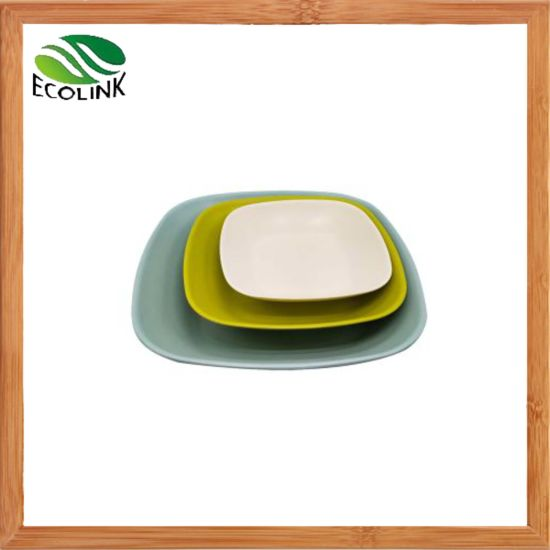 Bamboo Fiber Plate Set Bamboo Round /Square Dinner Serving Plates pictures & photos