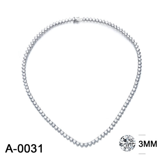 Fashion Jewelry 925 Sterling Silver or Brass CZ Tennis Chain Necklace for Sale pictures & photos
