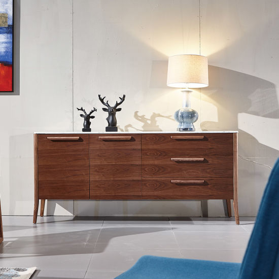 Modern Solid Wood Matching Carrara Marble Side Cabinet Less M. O. Q. pictures & photos