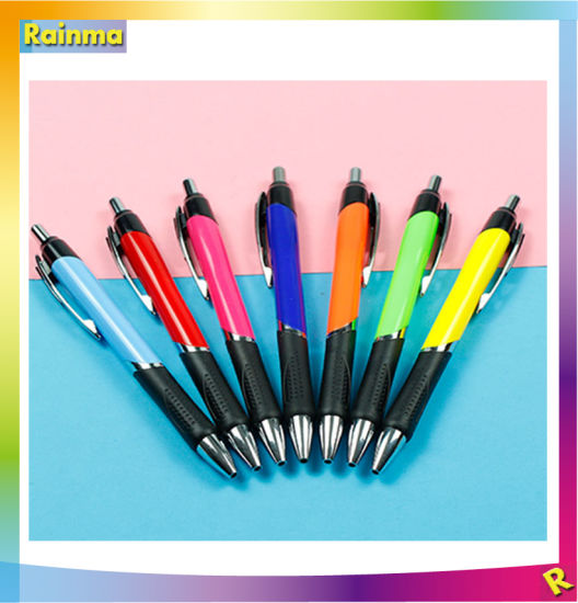 Popular and Elegant Pushed-Action Promotional Plastic Ball Pen with Rubber pictures & photos