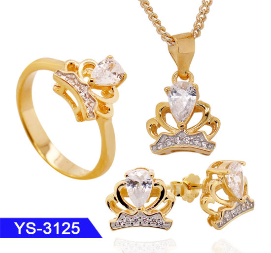 New Arrival Fashion 14 K Gold Plated 925 Sterling Silver or Brass Crown Jewelry Set for Wholesale pictures & photos