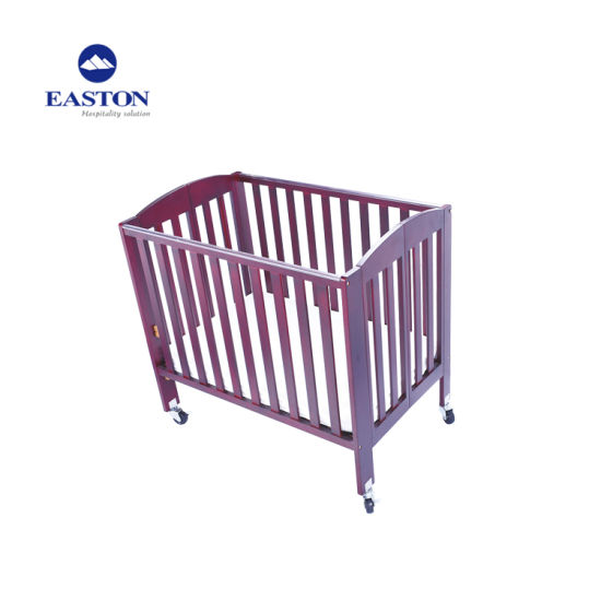 Hotel Foldable Mahogny Wooden Baby Crib pictures & photos
