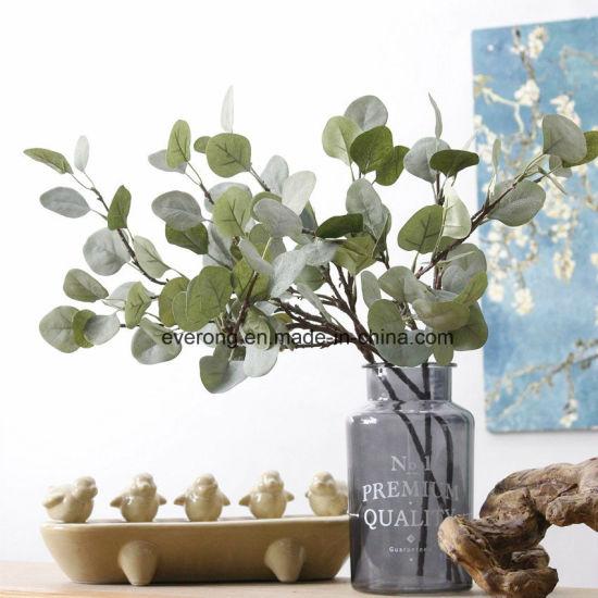 Artificial Flower Fake Leaf Silk Flowers Faux Seeded Eucalyptus Garland Foliage Plants Leaves In Bulk