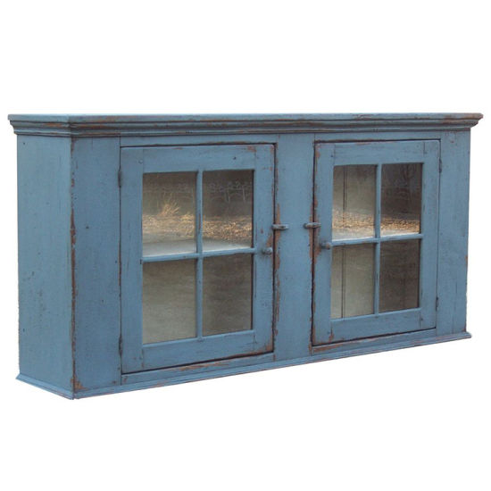 Antique Blue Dining Room Cabinet with Glass Door pictures & photos
