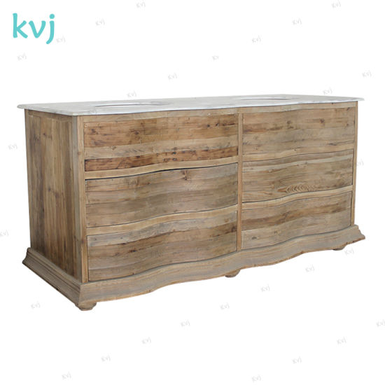 Kvj-7317 Rustic Recycled Wood Natural Color Bathroom Cabinet with Sinks pictures & photos