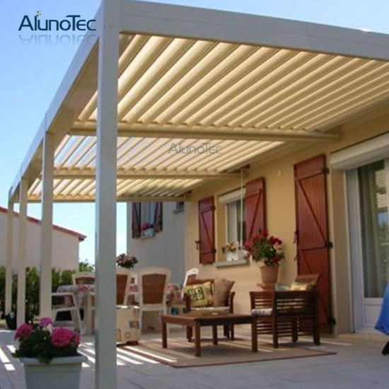 New Design Powder Coated Louvre Roof Pergola With LED Light
