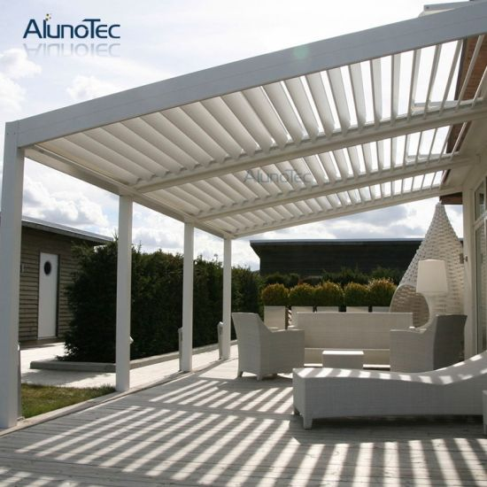 Pergola With Electric Louvered Roof Open System