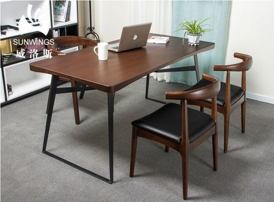 Wooden Office table with Steel Legs / Dining Table pictures & photos