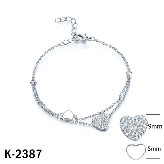 Fashion Jewellery 925 Sterling Silver Cubic Zirconia Stone Heart Bracelet for Women pictures & photos