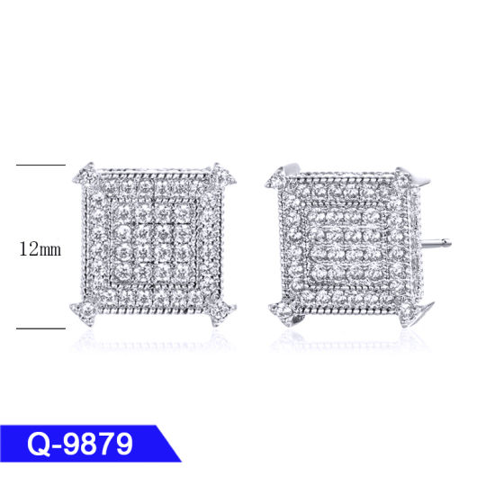 Wholesale New Fashion High End Iced out Jewelry 925 Sterling Silver CZ Stone Earrings for Man pictures & photos