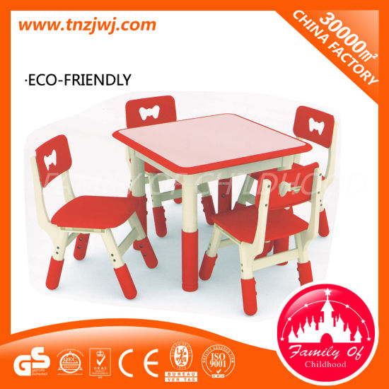 4 Seats Red Dining Tables Plastic Creche Table Set pictures & photos