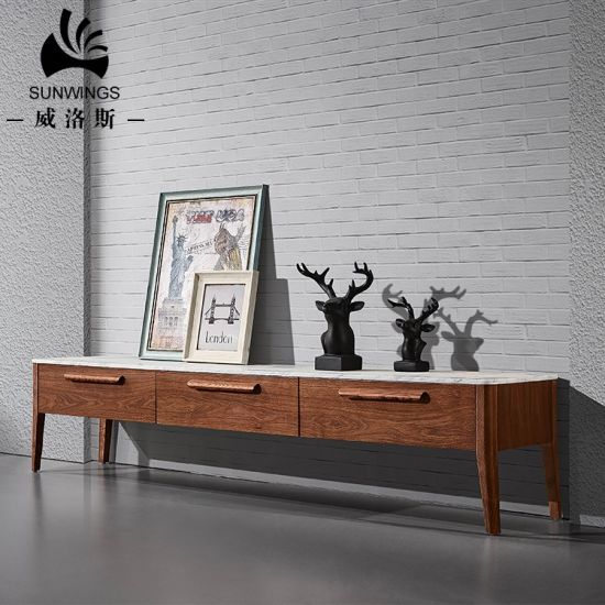 Elegant Marble Top TV Stand with Solid Wood Frame pictures & photos