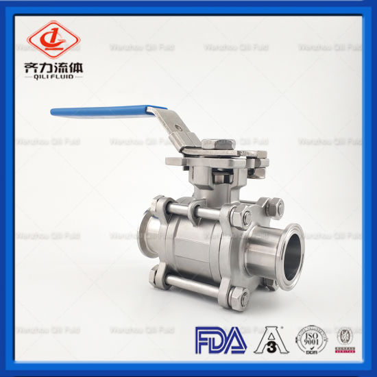 304 Ss Sanitary Tri-Clamp Ball Valves 3 Piece with Silicone Gasket pictures & photos