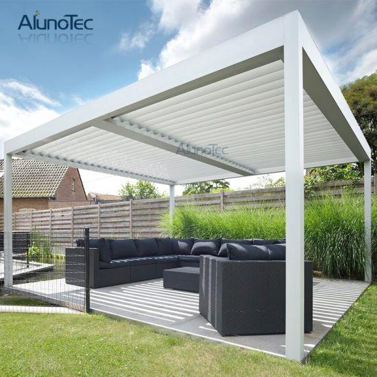 Outdoor Garden Electric Aluminum Sunshade Awning Gazebo Pergola With Operable Blade
