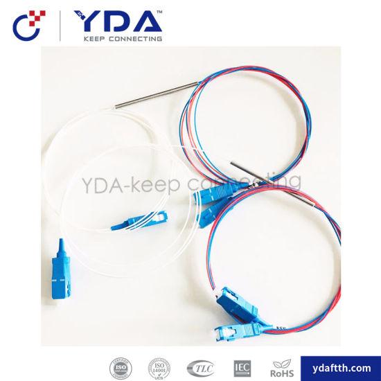 FTTH Fiber Optical Splitter Sc APC/Upc 1X2 Steel Tube Fiber Fbt Splitter pictures & photos