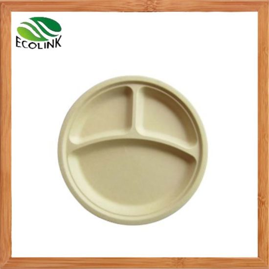 Eco-Friendly 100% Compostable Disposable 3-Compartment Bamboo Plup Plate pictures & photos