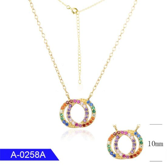 New Arrival Fine Jewelry 925 Sterling Silver or Brass Multicolor Cubic Zirconia Pendant Necklace pictures & photos