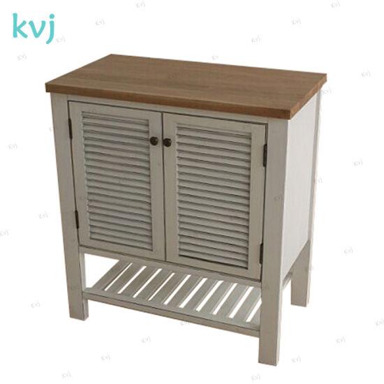 Kvj-7526 Simple White Wooden Shuttle Door Bathroom Cabinet pictures & photos