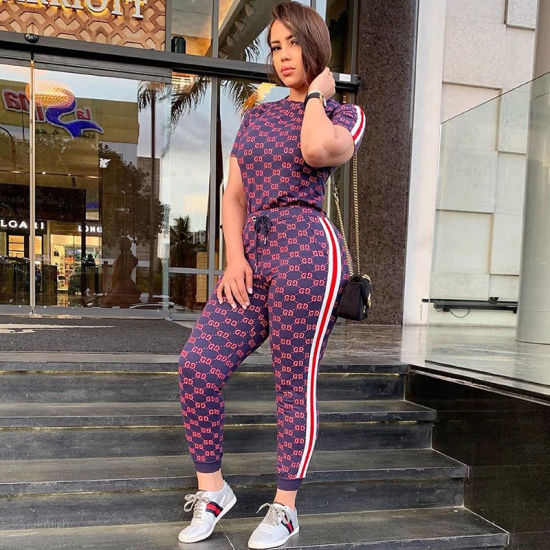 L28906 Casual Printed Striped Pant Set pictures & photos