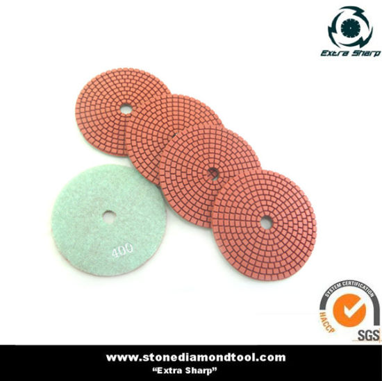 Wet Diamond Resin Bond Stone Polishing Pad with Velcro Backing pictures & photos
