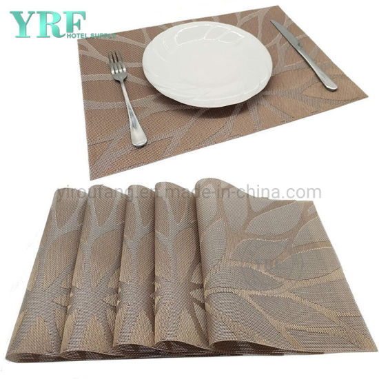 Modern Rectangular Woven Washable Non-Fading Flower-Brown Line Table Mats pictures & photos