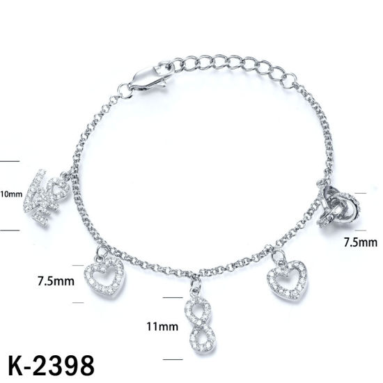 Wholesale Fashion Jewelry 925 Sterling Silver Cubic Zirconia Charm Bracelet for Children pictures & photos