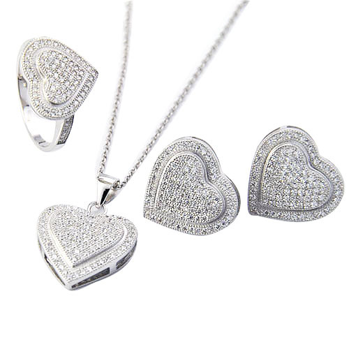 Factory Wholesale 925 Sterling Silver Micro Pave CZ Jewelry Set for Sale pictures & photos