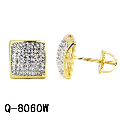 14K Gold Plated Silver Hip Hop Jewelry Pave Diamond Stud Earrings for Men pictures & photos