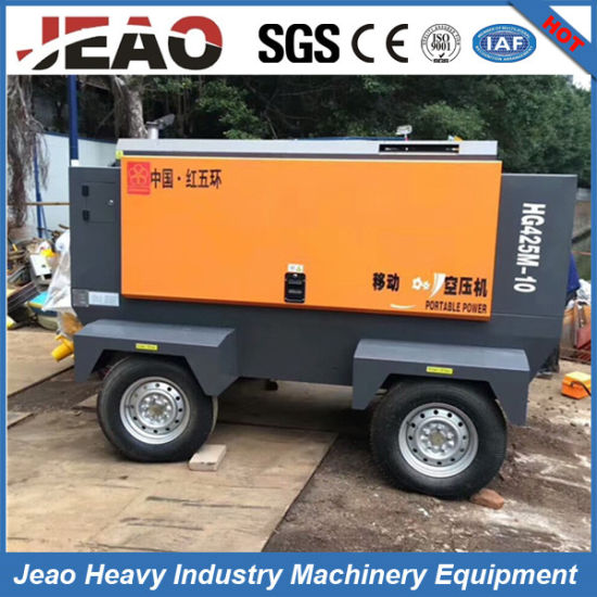 10bar Trailer Diesel Driven Rotary Air Compressor for Low Pressure Drilling Rig pictures & photos