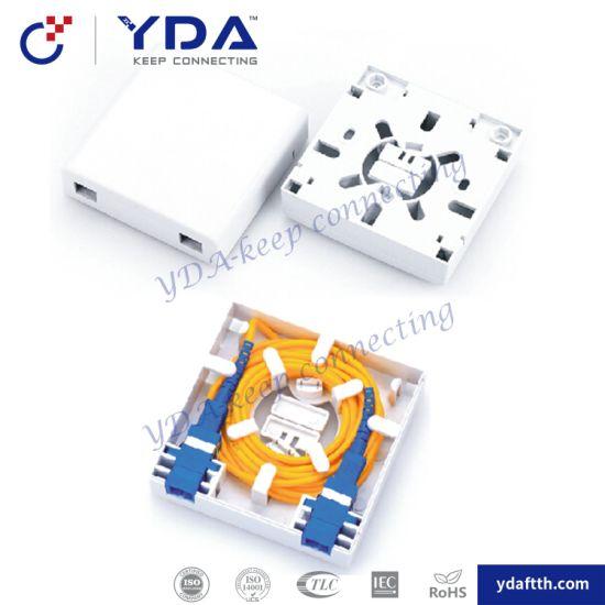 FTTH 2 Ports Mini Optical Terminal Box Plastic 86 Face Box Fiber Optic Wall Outlet Box pictures & photos