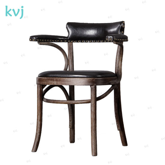 Kvj-7070 Dining Room Industrial Antique Rustic Solid Wood Armchair pictures & photos