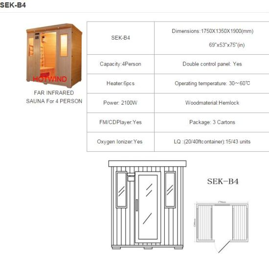 2017 Hotwind Hemlock Far Infrared Sauna for 4 Person (SEK-B4) pictures & photos