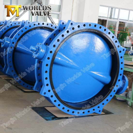 Double Flanged U Section Worm Gear Butterfly Valve with Epoxy Disc pictures & photos