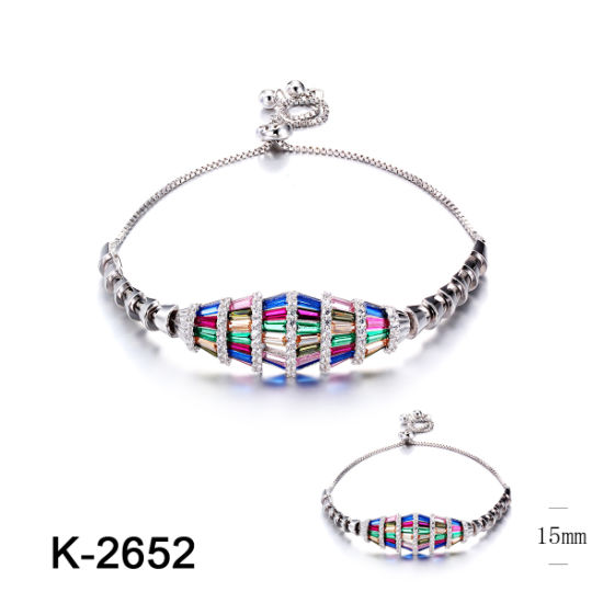 Personalized Jewelry 925 Sterling Silver Multicolor Cubic Zirconia Stone Bracelet for Kids pictures & photos