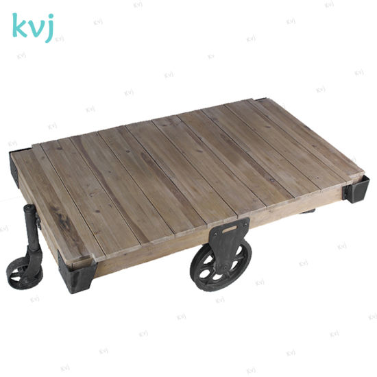 Kvj-7332 Rustic Antique Reclaimed Fir Coffee Table with Wheels pictures & photos