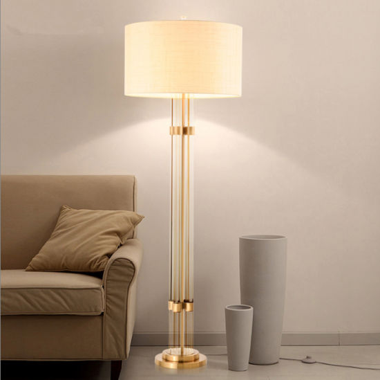 China post modern hotel glass standing column floor lamp light post modern hotel glass standing column floor lamp light with fabric shade for living room bedroom aloadofball Image collections