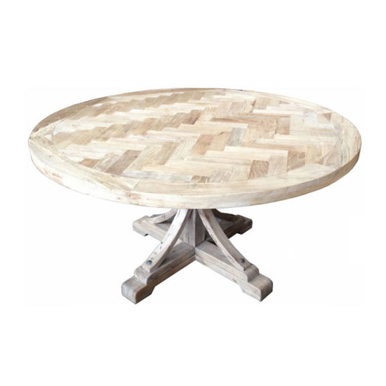 Kvj-Rr34 Reclaimed Elm Wood Parquet Rustic Round Dining Table pictures & photos